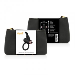 Δαχτυλίδι πέους RABBIT με δόνηση μαύρο με χρυσές λεπτομέρειες