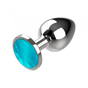 Πρωκτική μεταλική τάπα/σφήνα μπλε Coquette Anal Plug Metal Size S 2.7x 8cm