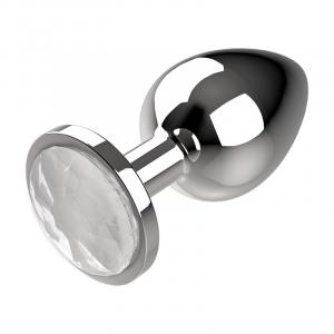 Πρωκτική μεταλική τάπα/σφήνα άσπρη Coquette Anal Plug Metal Size M 3.5 X 8CM