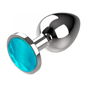 Πρωκτική μεταλική τάπα/σφήνα μπλε Coquette Anal Plug Metal Size M 3.5 X 8CM