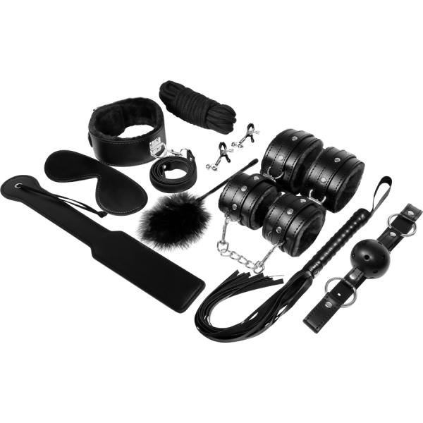 Σετ BDSM Experience μαύρο. Πλήρες σετ με ότι χρειαστείτε για να εξασκηθείτε στο BDSM και στο Bondage.