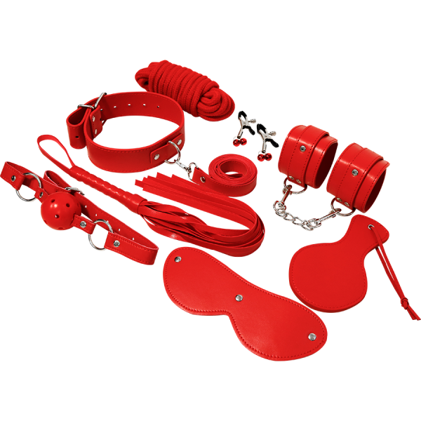 Σετ BDSM Experience κόκκινο. Πλήρες σετ με ότι χρειαστείτε για να εξασκηθείτε στο BDSM και στο Bondage.