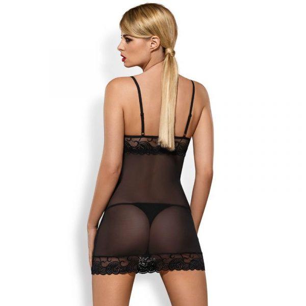 Σέξι chemise Chemise OBSESSIVE - WONDERIA μάυρο πολύ λεπτό, διάφανο, εξαιρετικά δελεαστικό σχέδιο